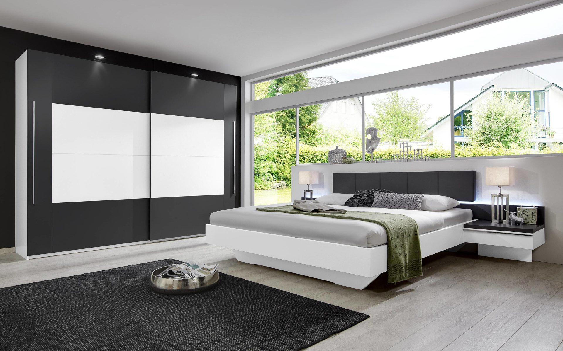 Möbel Brameyer , modernes rauch Schlafzimmer mit Schwebetürenschrank ...